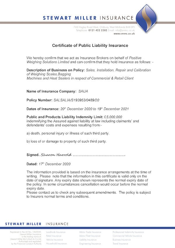 Certificate of public liability insurance 2021
